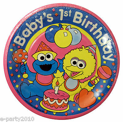 SESAME STREET 1ST BIRTHDAY SMALL PLATES (8) ~ Vintage Party Supplies First Baby](Baby Sesame Street Birthday Party Supplies)