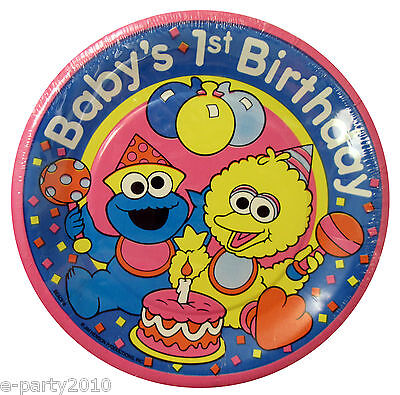 Baby SESAME STREET SMALL PLATES (8) ~ FIRST 1st BIRTHDAY Party Supplies Big Bird