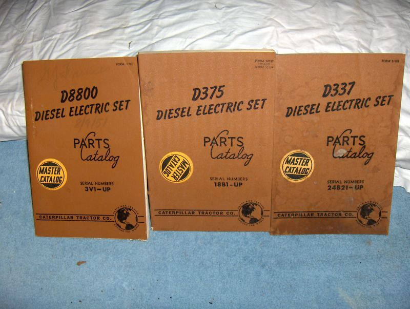 CAT Caterpillar Tractor 3 Diesel Electric Set Catalogs