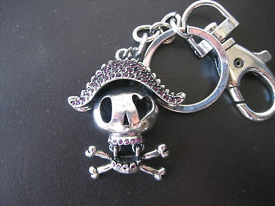 Crystal Skull Key Chain with Belt Snap Clip Key Ring