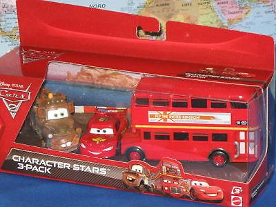 Disney Pixar Cars 2 Charakter Sternen Doppeldecker Bus Mater Mcqueen 3er-pack ()