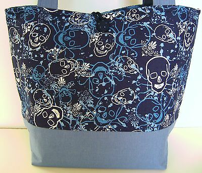 SKULL AND CROSSBONES NAVY ROYAL AND LIGHT BLUE  PURSE HANDBAG HANDMADE TOTE BAG