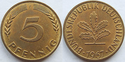 TOP! 5 Pf 1967 F in BANKFRISCH / STEMPELGLANZ SELTEN !!!