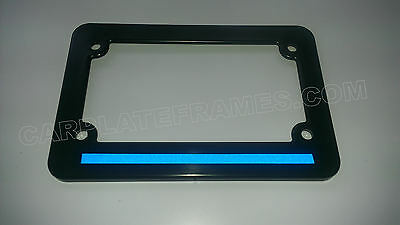 Blue License Plate - MOTORCYCLE  Blue Line License Plate Frame thin REFLECTIVE police