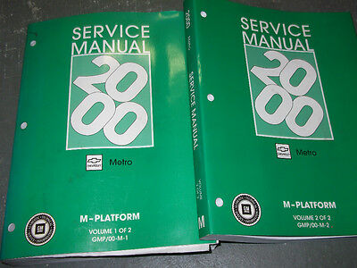 2000 2001 Chevy Chevrolet Geo Metro Service Shop Repair Manual Set FACTORY OEM