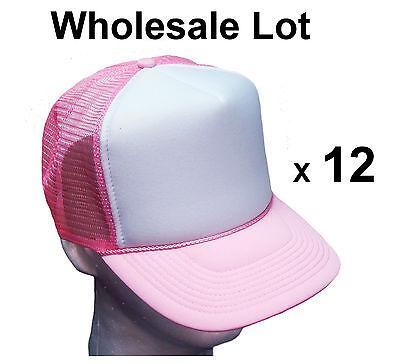 1 DOZEN TRUCKER HATS * Wholesale Bulk LOT of 12 MESH CAPS Pink / White Snapback  - Hats Bulk