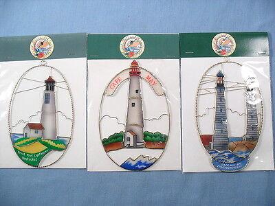 (LIGHTHOUSE Capiz Shell Suncatcher Great Point Nautecket, Cape May, Ann *YOU PICK)