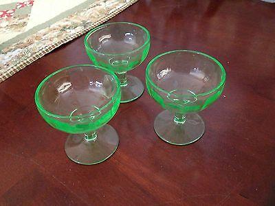 Set of 3 Green Vaseline Glass Sherbert Glasses