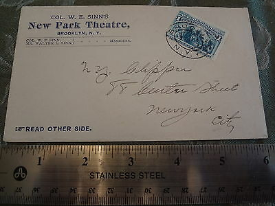 1892 New Park Theatre Brooklyn Nyc New York City Stamp Cover