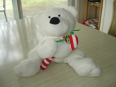 "TY Pluffies CANDY CANE BEAR White Retired 6"" Christmas Holidays lovey toy 2005"