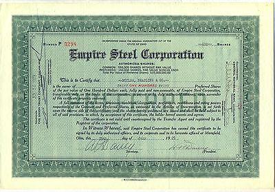 Empire Steel Corporation Stock Certificate Mansfield Ohio