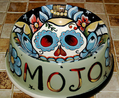 Tattoo ceramic custom Dog Bowl DAY OF THE DEAD DOD winged skull FOLK ART Mexican