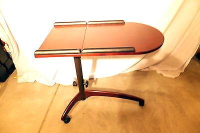 Used Deskside/BedsideTable, food service, mobile, Cherry wood,Tilt/Adjust height