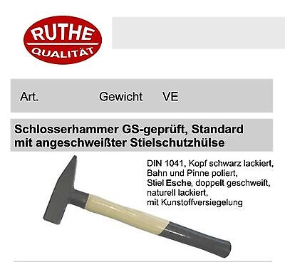 Ruthe Schlosserhammer 800 g mit Stielschutz, Qualität für Handwerk und Industrie