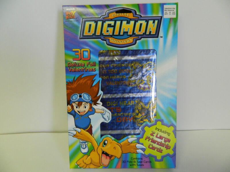 DIGIMON MONSTERS FOIL VALENTINES 30 DELUXE FOLD & SEAL CARDS - COLLECTORS 2000