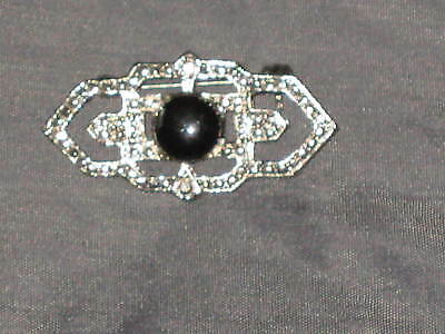- Unique Shape Black Stone Silver Jewelry Pin Brooch NEW!