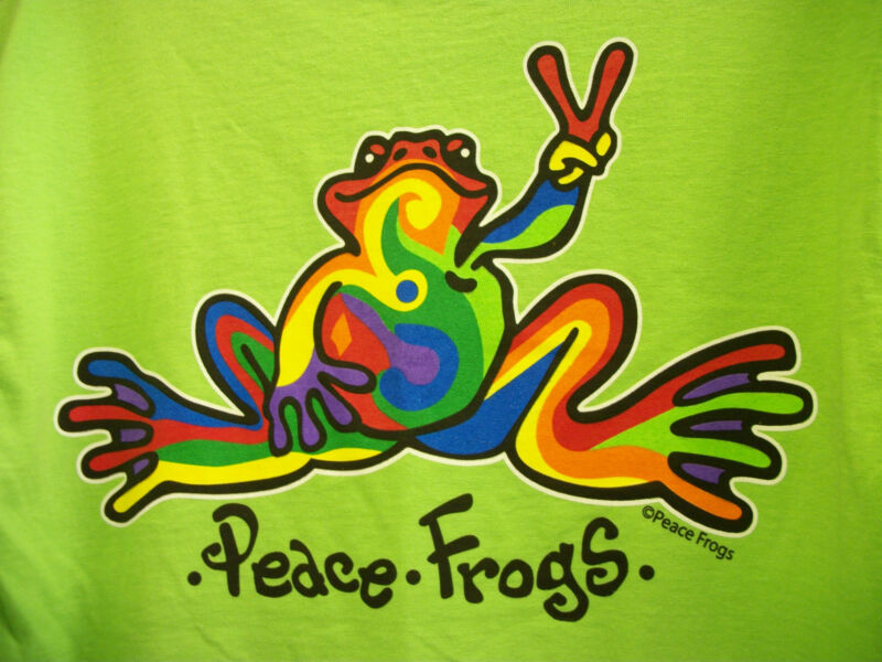 PEACE FROGS FROG RETRO ADULT LIME MEDIUM T-SHIRT