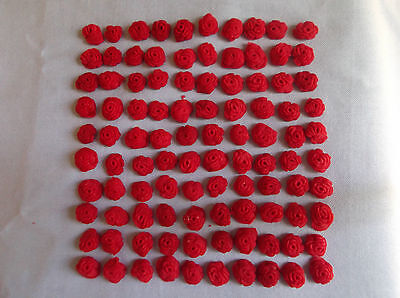 miniature  red roses edible sugar paste cupcake toppers x 50 must see!
