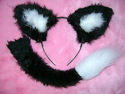 Sylvester The Cat Ears And Tail Set Black / White Faux Fur Instant Fancy Dress  ()