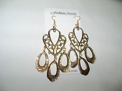 """NEW LARGE 4"""" LONG ATTRACTIVE  PIERCED EARRINGS GYPSY STYLE.....VERY STYLISH"""