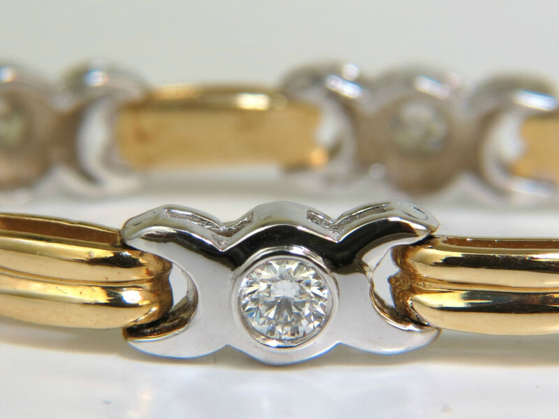 2.00ct Diamonds Bezel Link Bracelet Full Cuts G/vs2 Two Tone 14kt+