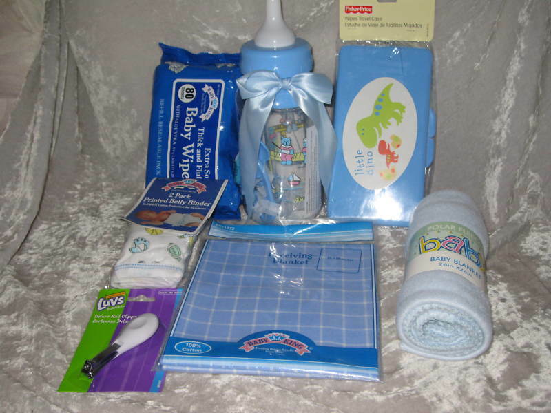 Blue Baby Bottle Bank Bib Blanket Clipper Wipes Teether