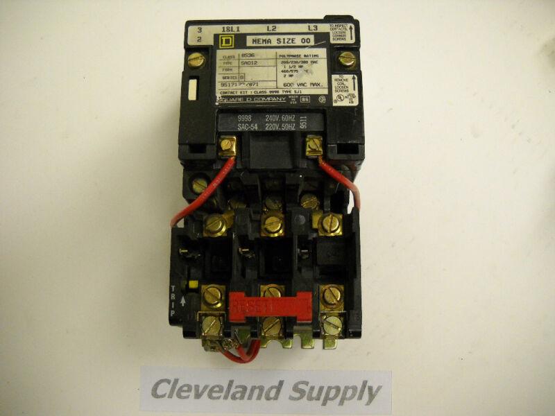 SQUARE D 8536 SAO12  MAGNETIC CONTACTOR NEMA SIZE 00  NEW CONDITION NO BOX