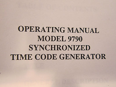 Datum 9790 Synchronized Time Code Generator Operating Manual
