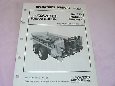 New Idea 355 Manure Spreader Operators Manual
