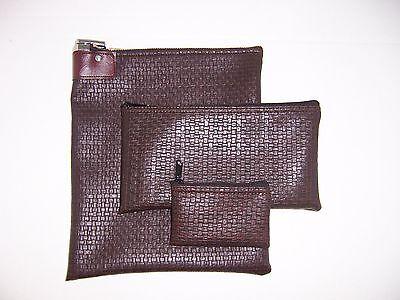 3 Piece Brown Vinyl Locking Bank Deposit Bag Combo Set Money Bag Lockbag
