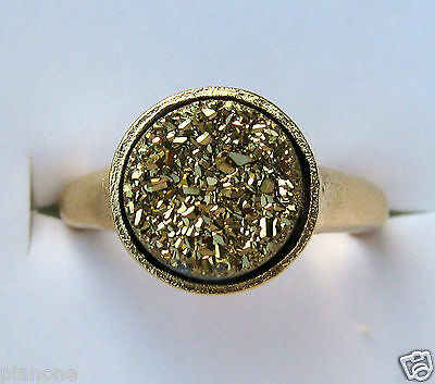 - 10mm Round Gold Druzy Quartz Ring 14k Satin Gold over Bronze Multiple Sizes