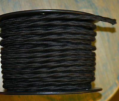 Black Cloth Covered 3-Wire Overbraid Fabric Cord 16ga. Vintage Lamps Lights Fans - Lights Clothing