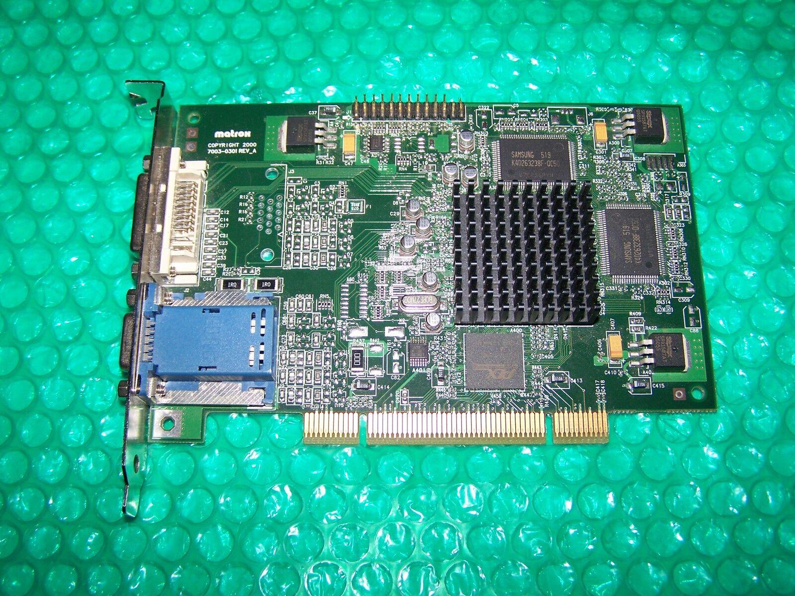 Rare MATROX G450 Dual Display Graphic Card DVI/VGA, standard PCI type (not PCIe)