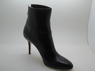 Auth. JIMMY CHOO Dark Brown Leather Keagan  Boots Booties Heels 39.5 / 9.5 New