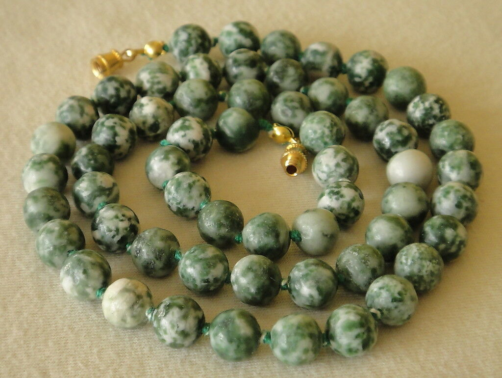Natural Green Tree Agate Necklace 8mm Beads 23