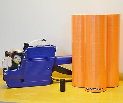 Mx-6600 10 Digits 2 Lines Price Tag Gun Labeler 1 Ink 42 Rolls Orange 500 Tag