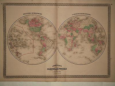 1870 Genuine Antique Hand Colored Map of Eastern & Western Hemispheres. Johnson