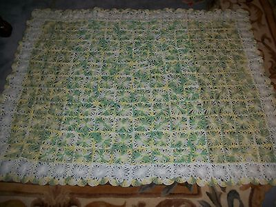 """STUNNING HAND CROCHET BABY BLANKET AFGHAN  SIZE 38"""" x 50"""" INCHES L@@K  *"""