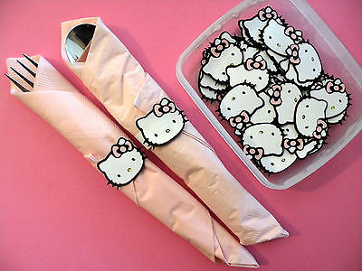 25 Die Cut Hello Kitty Napkin Wrapper Embellishments Baby Shower Birthday Party (Napkin Wrappers)
