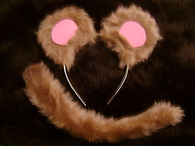 Mouse Ears And Tail Set Light Brown And Pink Fancy Dress Costume One Size Unisex