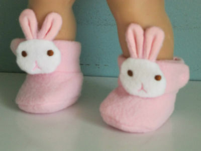 CUTE & SOFT PINK BUNNY SLIPPERS fits Bitty Baby, Bitty Baby Twin & American - Baby Bunny Slippers