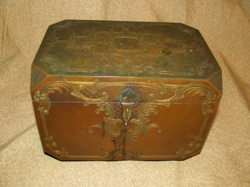 Very Good Antique French Engraved & Gilded Bronze Box
