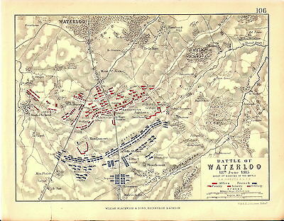 Map - Battle of Waterloo 18 June 1815 - Morning