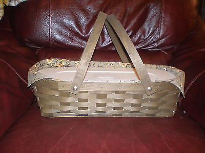 Brown Oval Basket - Longaberger Small Oval Gathering Basket Set - Deep Brown Khaki Floral