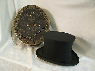 Antique Dunlap & Co N.Y Collapsible Opera Top Hat Original Box Richmond VA store - Collapsible Top Hats