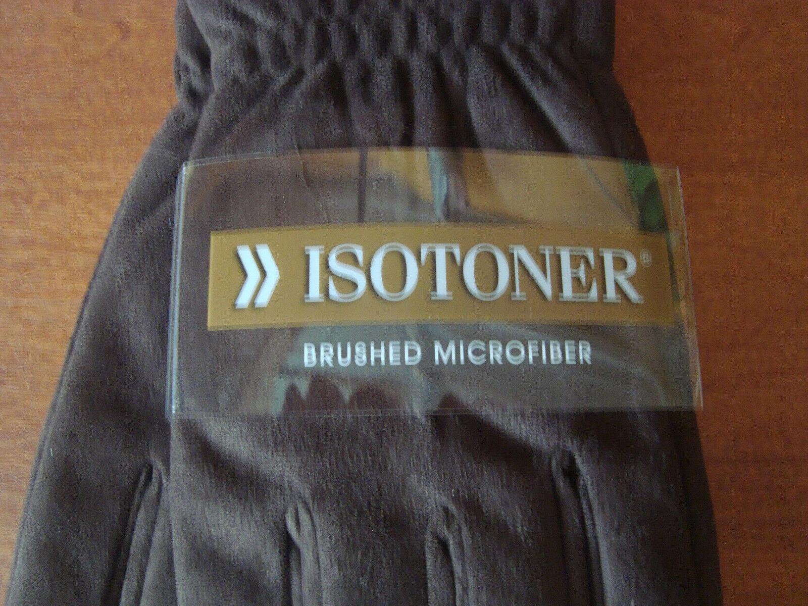 New Mens Size Large L Black ISOTONER Winter Gloves Brushed Microfiber Fleece
