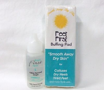FEET FIRST Spa Callus Remover Drops + Buffing Pad Combo - Feet First Spa