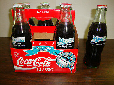 (1993 Florida Marlins---Inaugural Season---6-Pack Of Coke--All Full---With Carton)