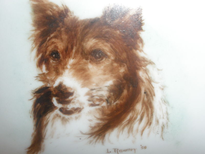 ANTIQUE PORCELAIN CIGARETTE BOX AND ASHTRAY PAINTED DOG