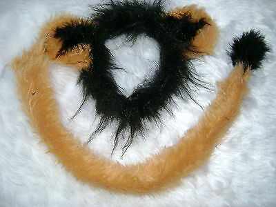 Scar From Lion King Ears And Long Tail Set Luxury Faux Fur Fancy Dress One Size